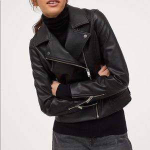 H&M Black Faux Leather Moto Biker Jacket